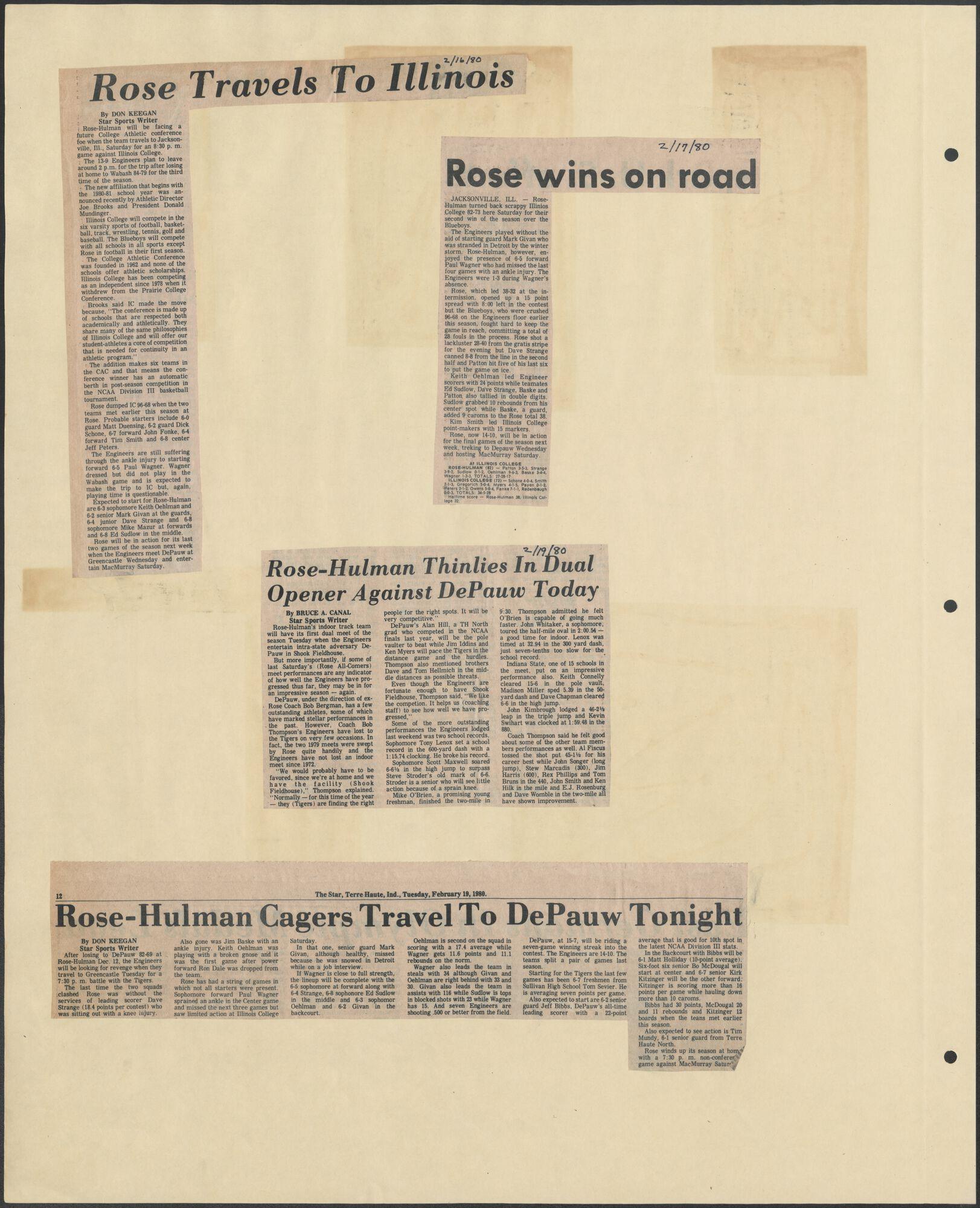 1979-1980 Rose-Hulman Athletic Department Scrapbook